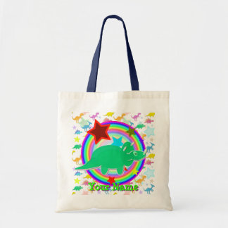 Green Triceratops Dinosaur Gift Bag with Your Name