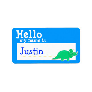 Green Triceratops Hello My Name is Badge Blue Custom Address Labels