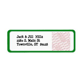 Green Trimmed Border Template Return Address Label