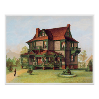 Green Trimmed Victorian Manor Poster