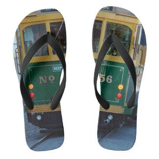 Green Trolley Car Photograph On Flip Flops