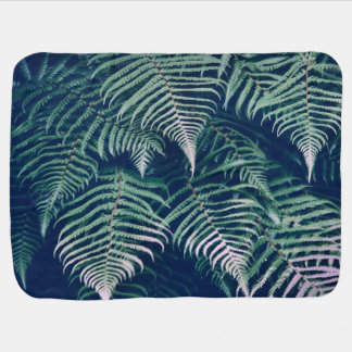 Green Tropical Fern Leaves Natural Pattern Baby Blanket