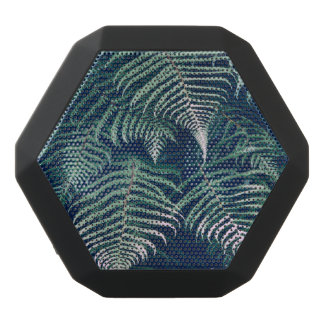 Green Tropical Fern Leaves Natural Pattern Black Bluetooth Speaker