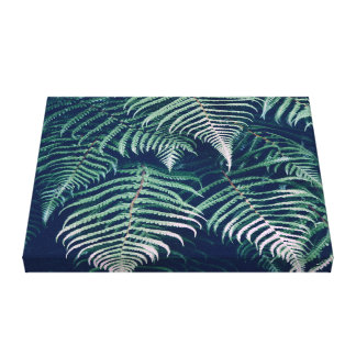 Green Tropical Fern Leaves Natural Pattern Canvas Print