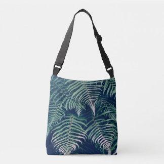 Green Tropical Fern Leaves Natural Pattern Crossbody Bag
