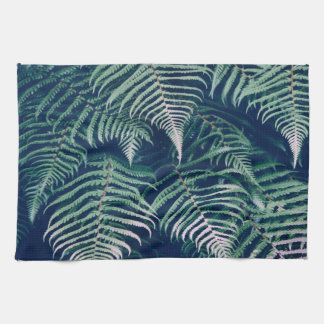 Green Tropical Fern Leaves Natural Pattern Kitchen Towel