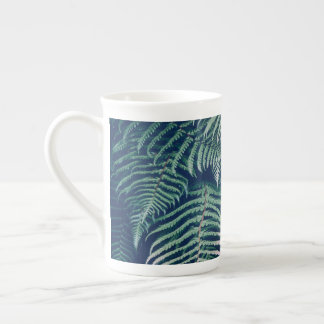 Green Tropical Fern Leaves Natural Pattern Tea Cup