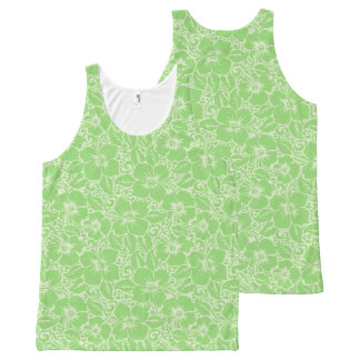 Green tropical floral All-Over-Print tank top