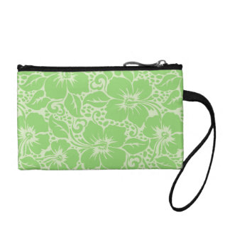 Green tropical floral coin purse