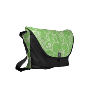 Green tropical floral commuter bag