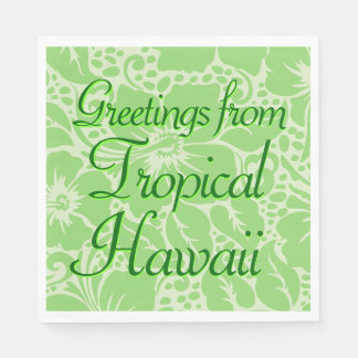 Green tropical floral disposable napkins