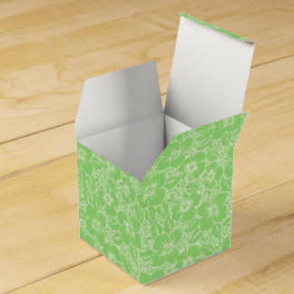Green tropical floral favor box