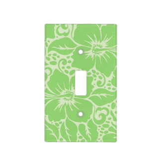 Green tropical floral light switch cover