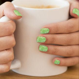 Green tropical floral minx nail art