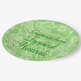 Green tropical floral paper plate