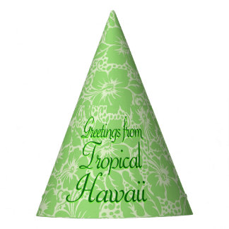 Green tropical floral party hat