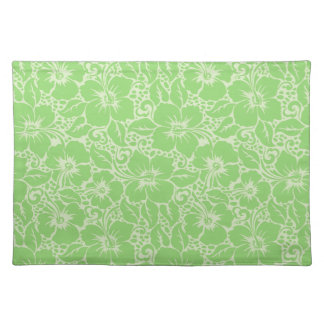 Green tropical floral placemat