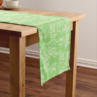 Green tropical floral short table runner