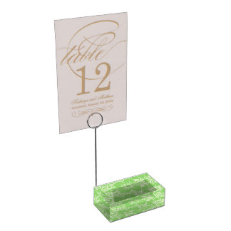 Green tropical floral table card holder