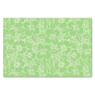 Green tropical floral tissue paper