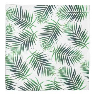 Green Tropical Island Palm Fronds Ferns Duvet Cover