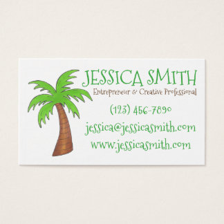 Green Tropical Island Palm Tree Business Cards