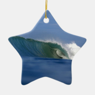 Green tropical island surfing wave ceramic star ornament