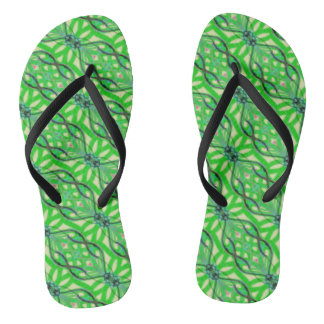 Green tropical jungle abstract flip flops