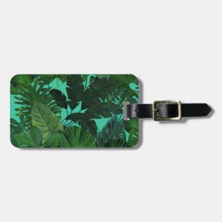 Green Tropical Leaf Pattern Luggage Tag