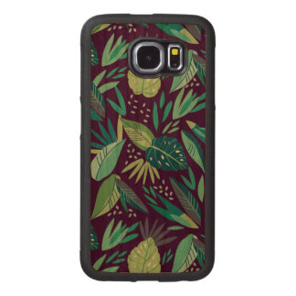 Green Tropical Leafs Pattern Wood Phone Case