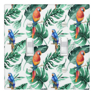 Green Tropical Leaves & Birds Summer Island Light Switch Cover
