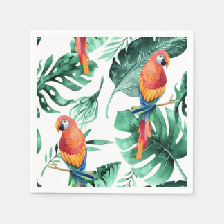 Green Tropical Leaves & Birds Summer Party Napkin