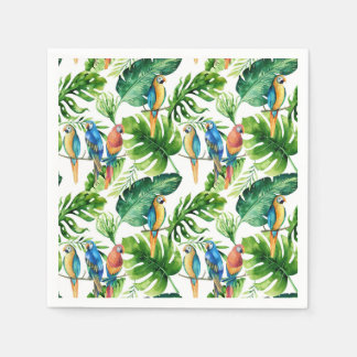 Green Tropical Leaves & Birds Summer Party Paper Napkin