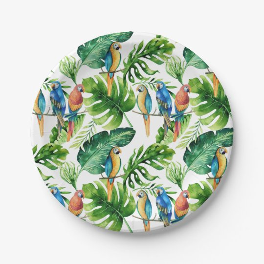 Green Tropical Leaves & Birds Wedding Party 7 Inch Paper Plate