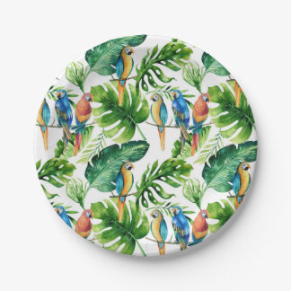 Green Tropical Leaves & Birds Wedding Party Paper Plate