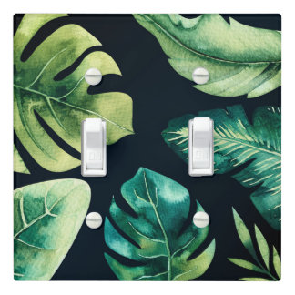Green Tropical Leaves Black Elegant Chic Summer Light Switch Cover