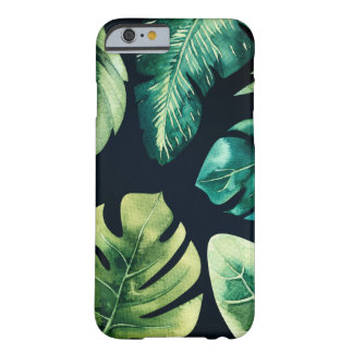 Green Tropical Leaves Black Modern Chic Summer Barely There iPhone 6 Case