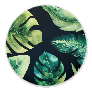 Green Tropical Leaves Black Summer Paradise Ceramic Knob