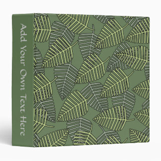 Green Tropical Leaves on Dark Green. Vinyl Binders