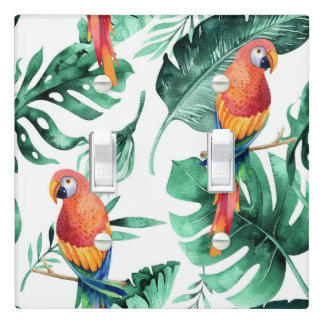 Green Tropical Leaves & Parrots Summer Island Light Switch Cover