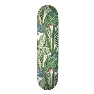 Green tropical leaves skateboard
