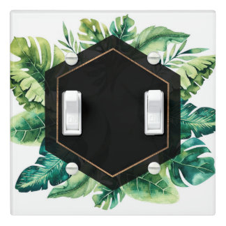 Green Tropical Leaves White Elegant Rain Forest Light Switch Cover