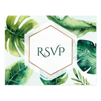 Green Tropical Leaves White Elegant Wedding RSVP Postcard