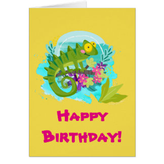 Green Tropical Lizard with Flowers Birthday Card