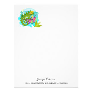 Green Tropical Lizard with Flowers Letterhead