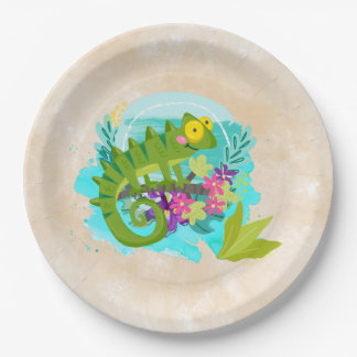 Green Tropical Lizard with Flowers Paper Plate