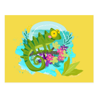 Green Tropical Lizard with Flowers Postcard