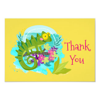 Green Tropical Lizard with Flowers Thank You Card