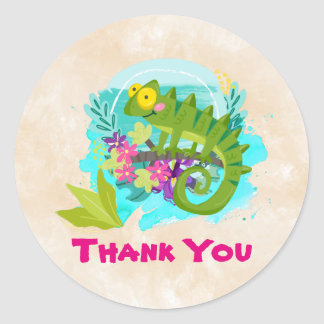 Green Tropical Lizard with Flowers Thank You Classic Round Sticker