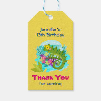 Green Tropical Lizard with Flowers Thank You Pack Of Gift Tags